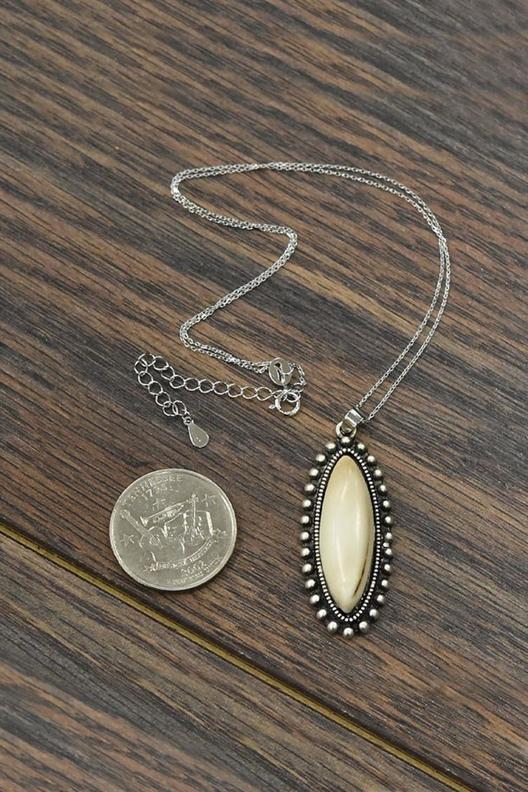 JChronicles Sterling-Silver-Chain-Necklace With Natural-White-Turquoise-Pendant - Front Full Image