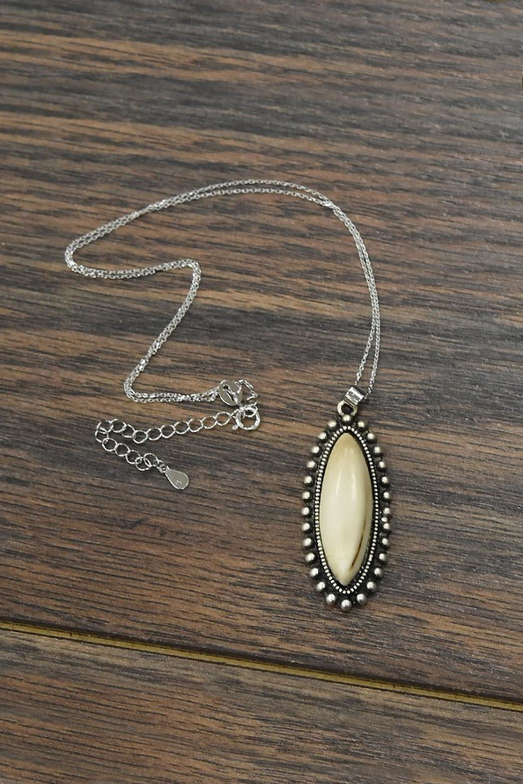 JChronicles Sterling-Silver-Chain-Necklace With Natural-White-Turquoise-Pendant - Main Image