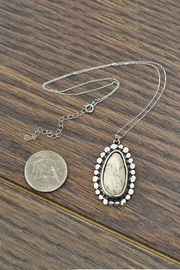 JChronicles Sterling-Silver-Chain-Necklace With Natural-White-Turquoise-Pendant - Front full body