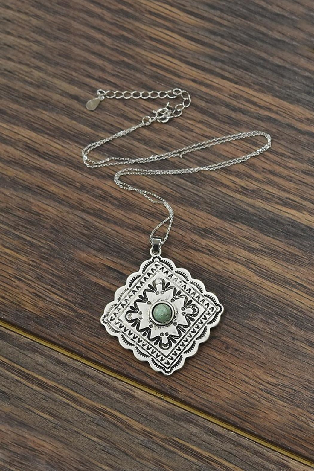Sterling Silver Chain With Natural Turquoise Concho Pendant
