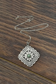 JChronicles Sterling-Silver-Chain With Natural-Turquoise-Concho-Pendant - Product Mini Image