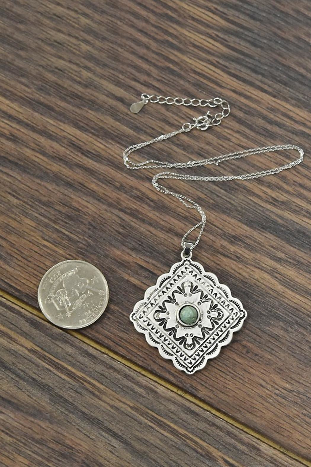 JChronicles Sterling-Silver-Chain With Natural-Turquoise-Concho-Pendant - Side Cropped Image