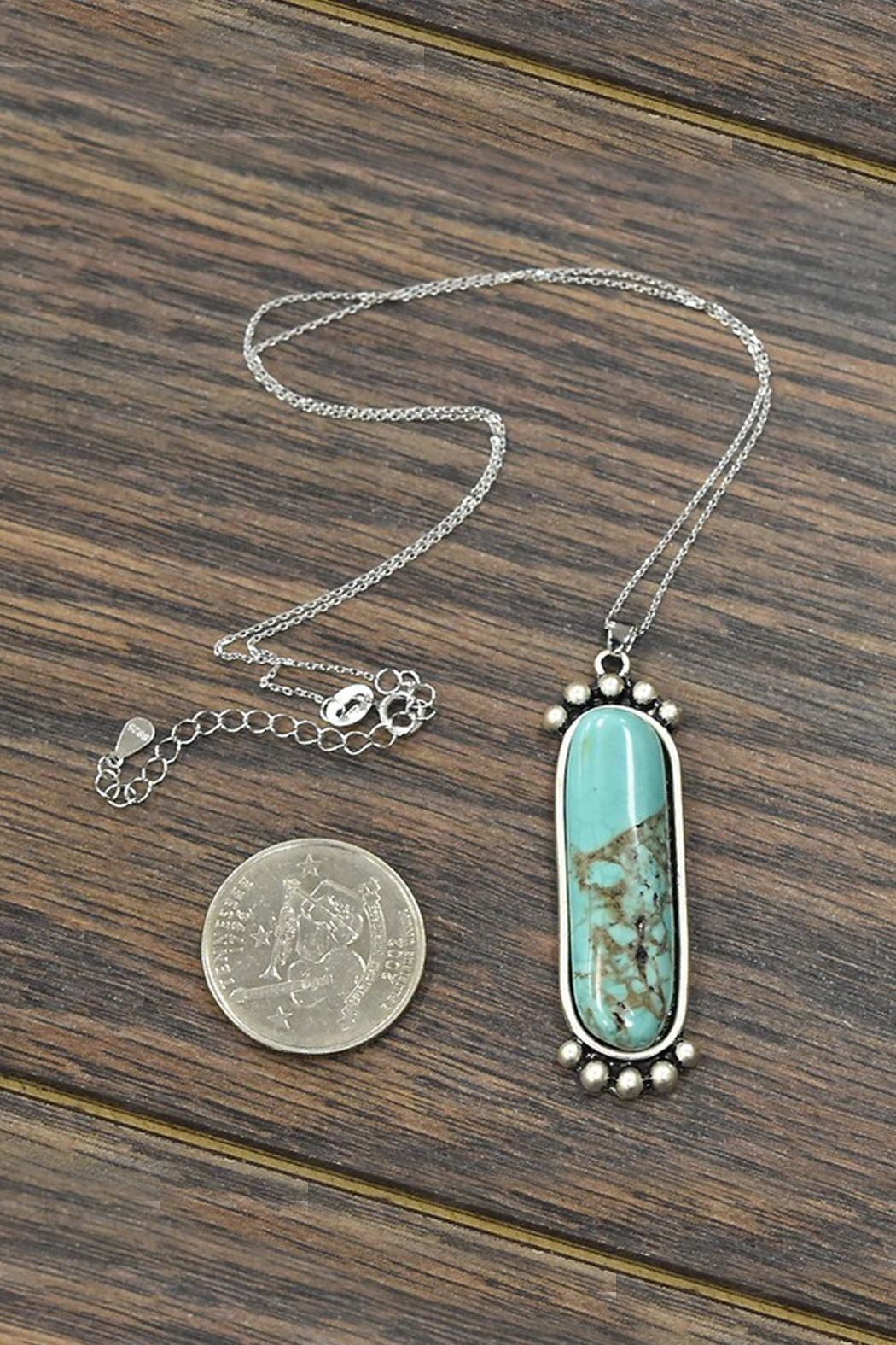 JChronicles Sterling-Silver-Chain With Natural-Turquoise-Pendant-Necklace - Front Full Image