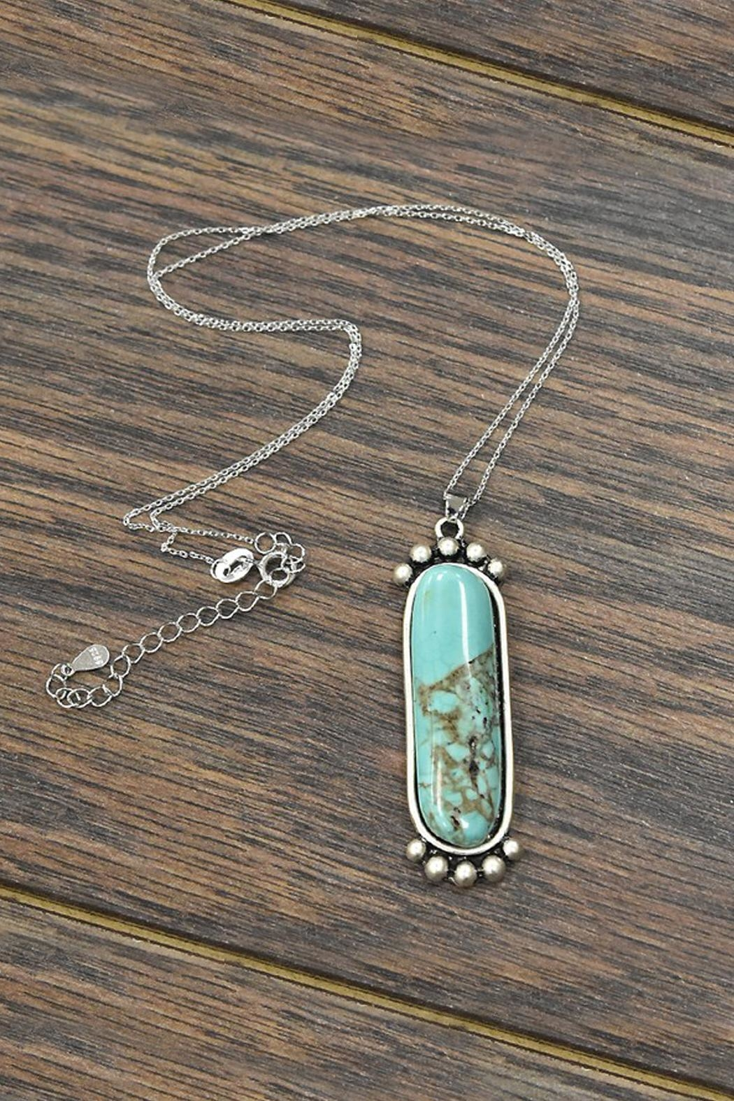 JChronicles Sterling-Silver-Chain With Natural-Turquoise-Pendant-Necklace - Main Image