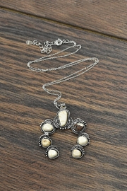 JChronicles Sterling-Silver-Chain With White-Natural-Turquoise-Pendant-Necklace - Product Mini Image