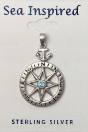 Presco STERLING SILVER COMPASS ROSE PENDANT WITH ANCHOR BAIL - Product Mini Image