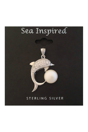 Presco Sterling Silver Dolphin Pendant with Fresh Water Pearl - Product Mini Image