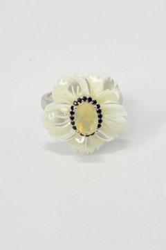 ... Sterling Silver Opal, Spinel & Mother of Pearl Ring - Alternate List Image