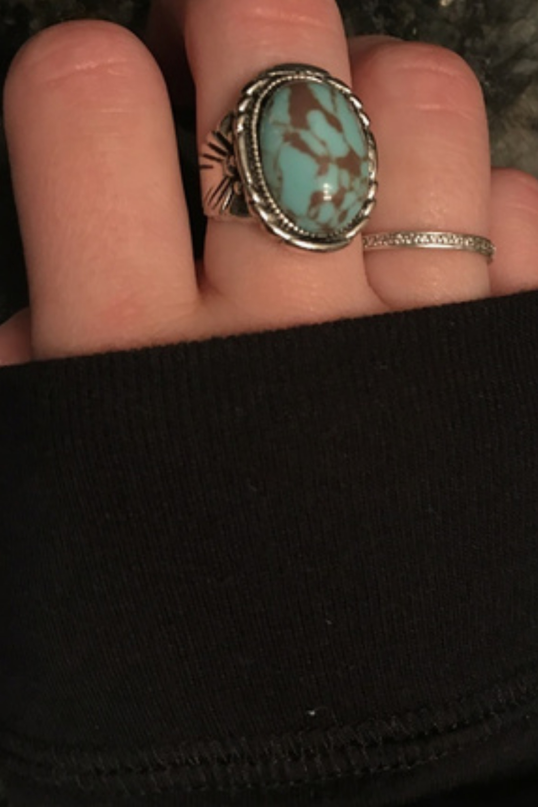 Malia Maui Jewelry Sterling Silver Oval Turquoise Ring - Front Full Image
