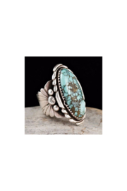 Malia Maui Jewelry Sterling Silver Oval Turquoise Ring - Front cropped