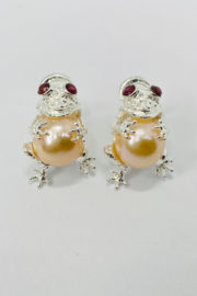 ... Sterling Silver Rhodolite Garnet Pearl Earrings - Product Mini Image