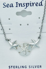 Presco STERLING SILVER SAND DOLLAR AND  STARFISH NECKLACE - Product Mini Image