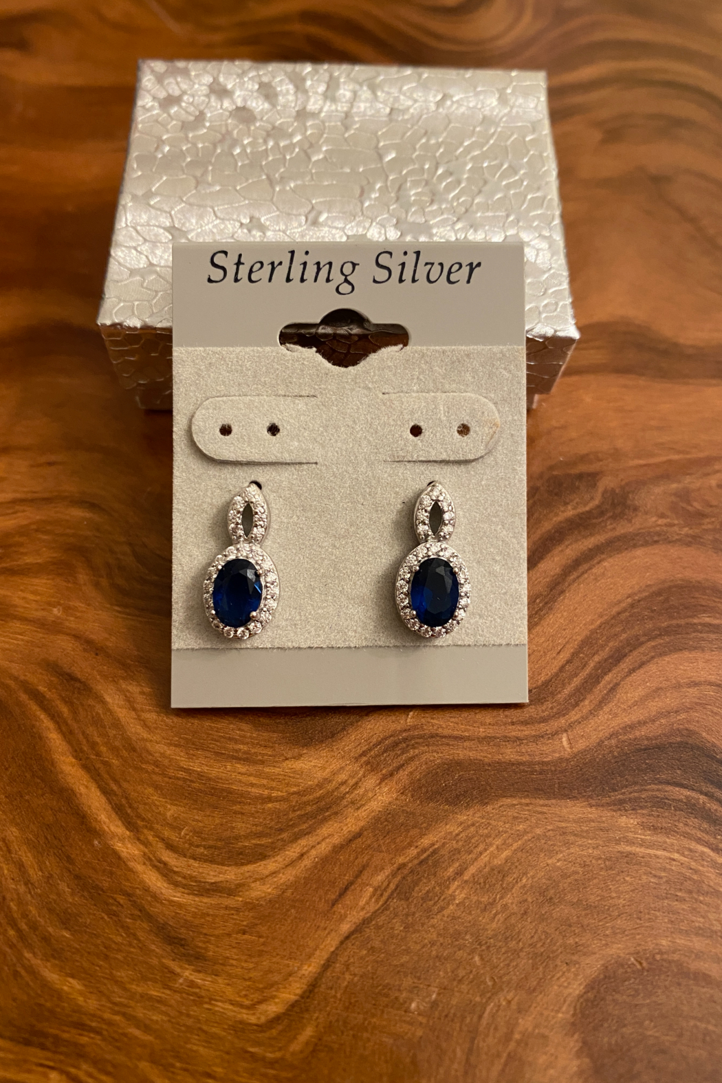 tesoro  Sterling Silver Sapphire Stud Earrings - Main Image