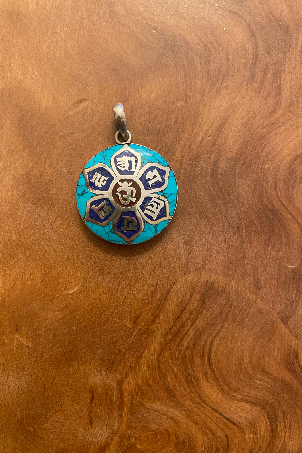 tesoro  Sterling Silver & Turquoise Om Pendant Necklace - Main Image