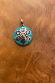 tesoro  Sterling Silver & Turquoise Om Pendant Necklace - Product Mini Image