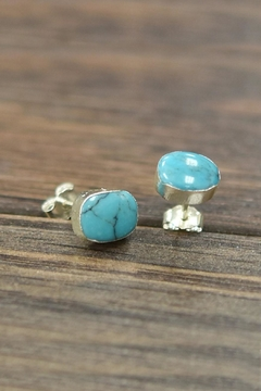Shoptiques Product: Sterling-Silver-With Natural-Turquoise-Stone Earring