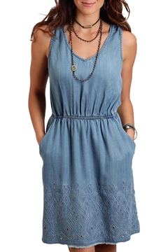 Shoptiques Product: Denim Embroidered Dress