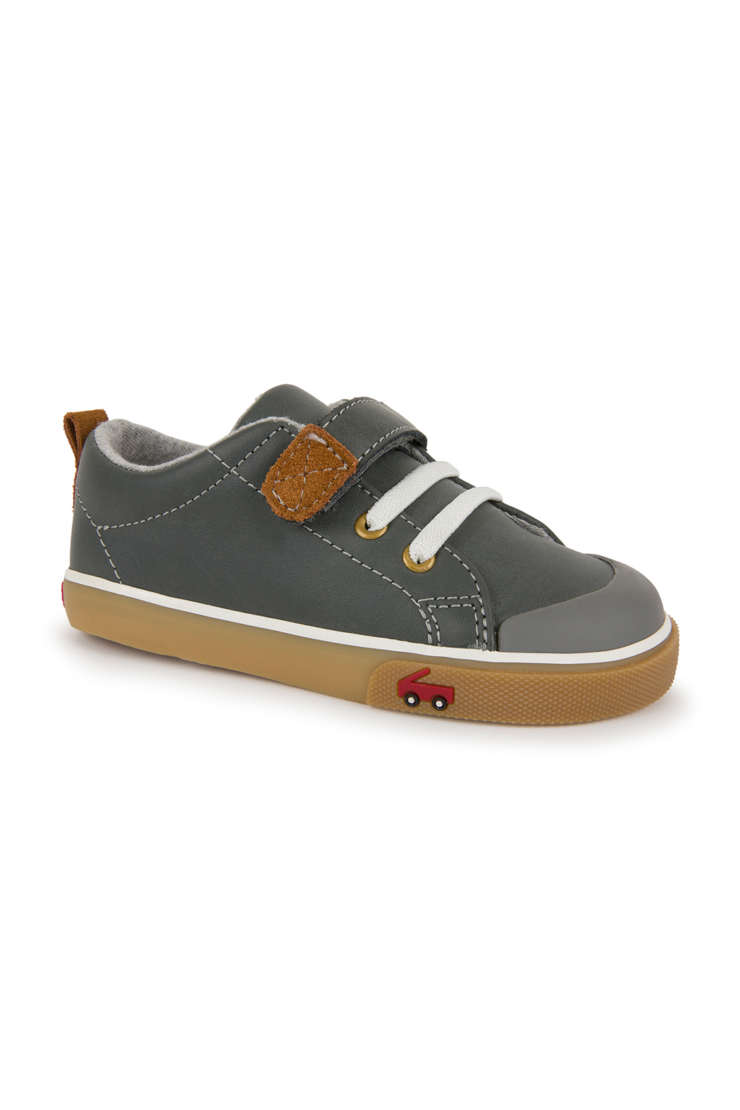 See Kai Run Stevie II Grey Leather Sneaker - Front Cropped Image