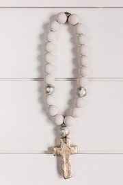 The Birds Nest STEWART - WHITE WITH BLUE AND GOLD BLESSING BEADS - Product Mini Image