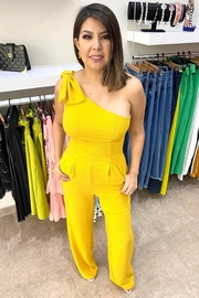 Sthela & Co Yellow Bow Jumpsuit - Product Mini Image