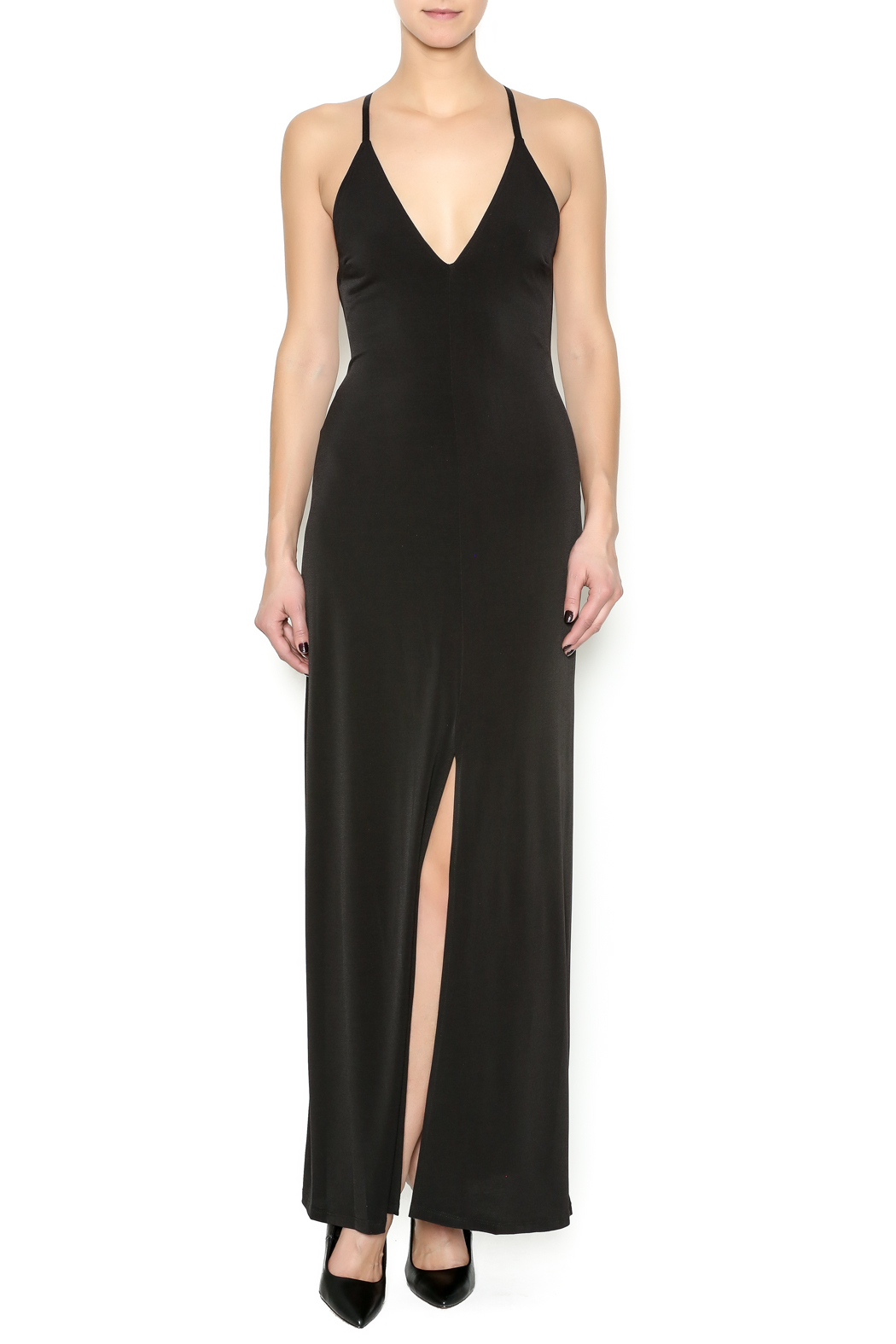 Stilletto's Black Maxi Dress - Front Cropped Image