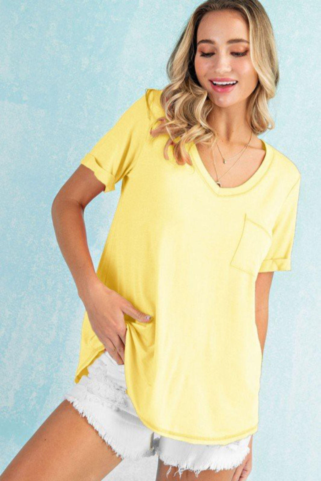 143 Story Stitch Detail Roll Up Sleeve Top - Main Image