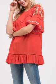 Blu Pepper Stitch Embroidered Shirt - Front full body