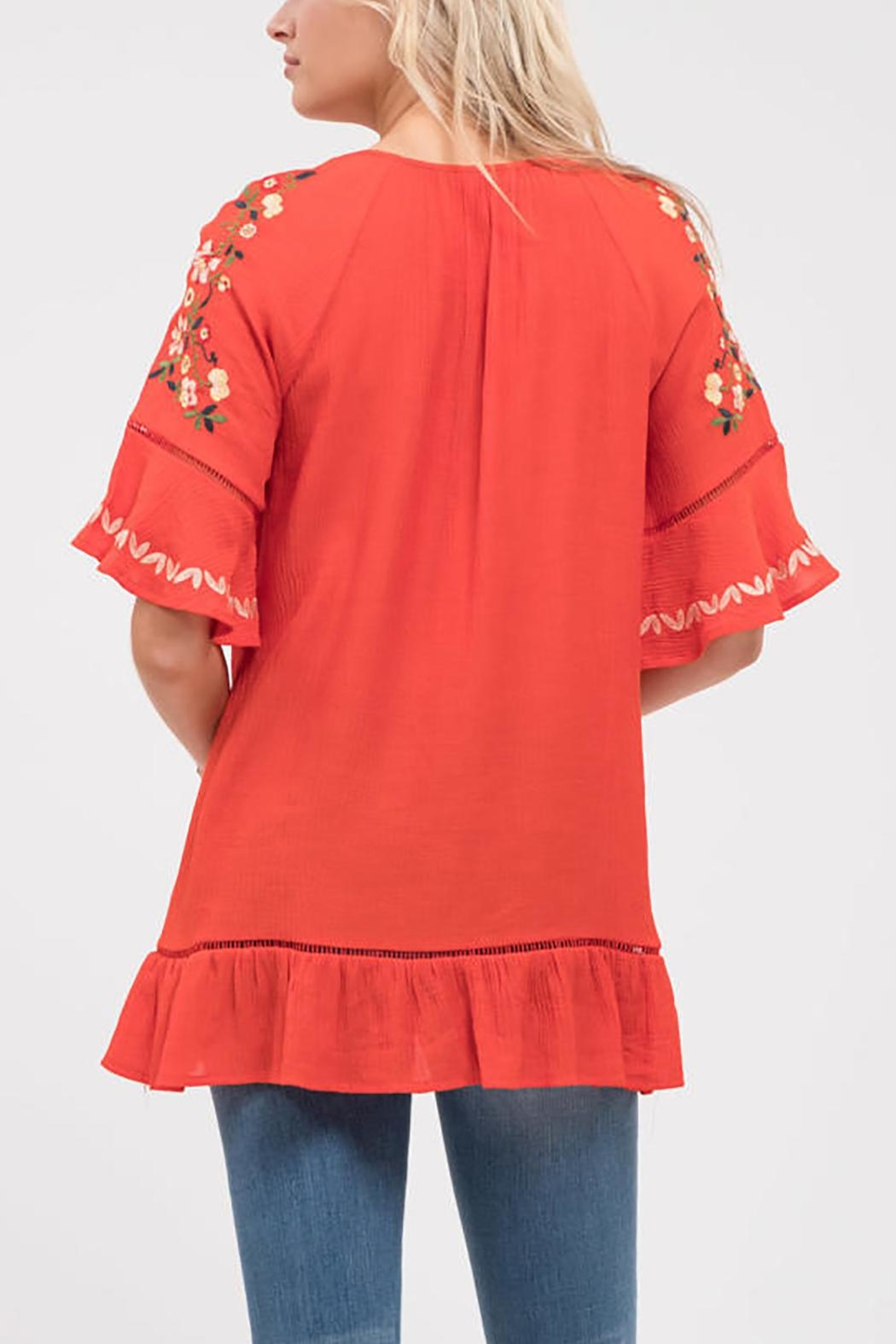 Blu Pepper Stitch Embroidered Shirt - Side Cropped Image
