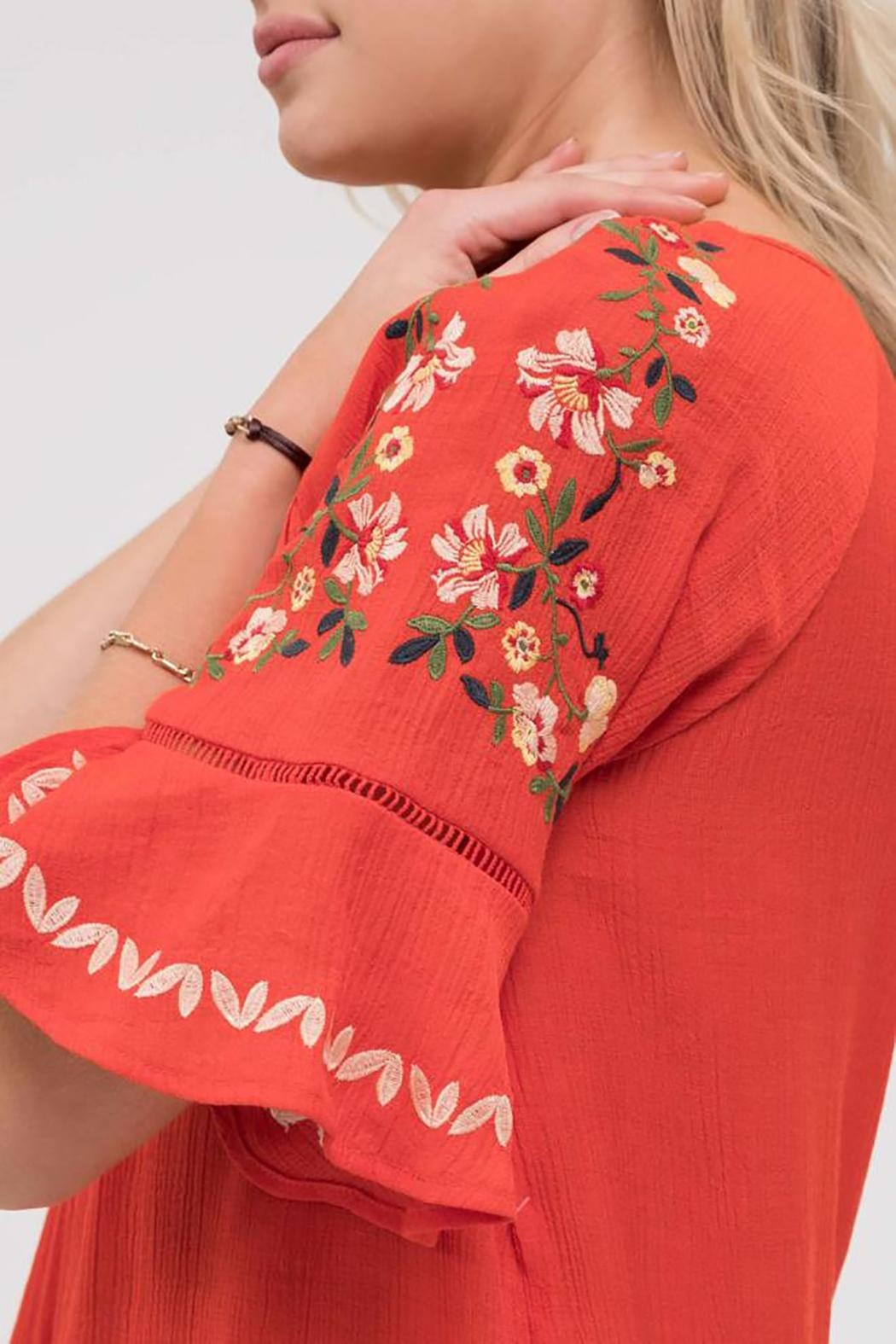 Blu Pepper Stitch Embroidered Shirt - Back Cropped Image