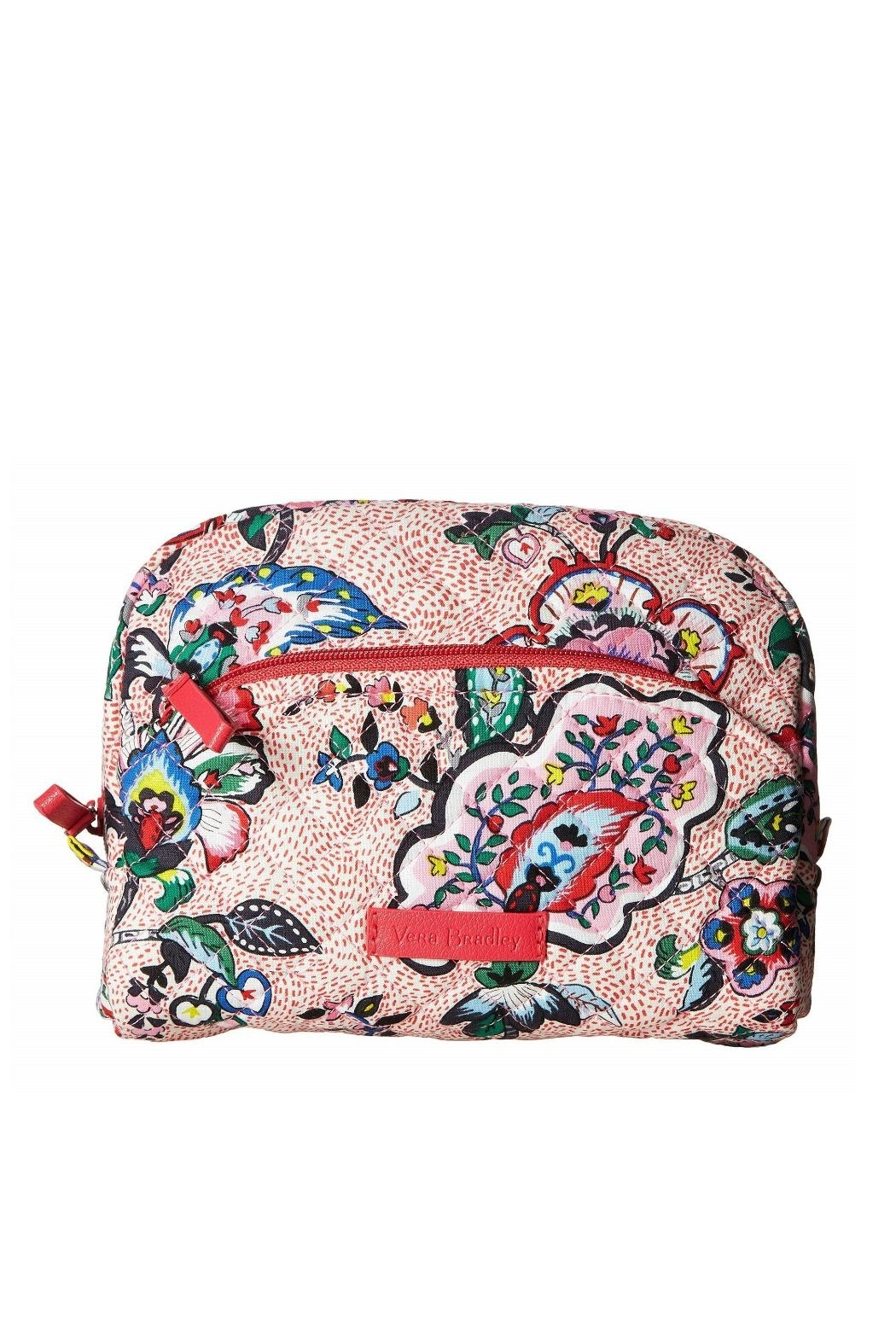 Vera Bradley Stitched Flowers Medium-Cosmetic - Front Cropped Image