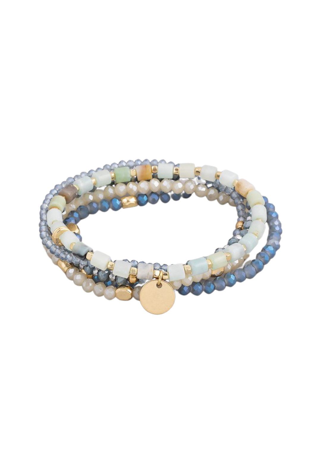 Fame Accessories Stone Beaded Coin Stretch Bracelet Set - Main Image