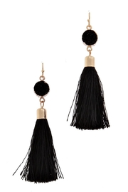 Fashion Jewelry Stone Black Tassel-Earrings - Product Mini Image