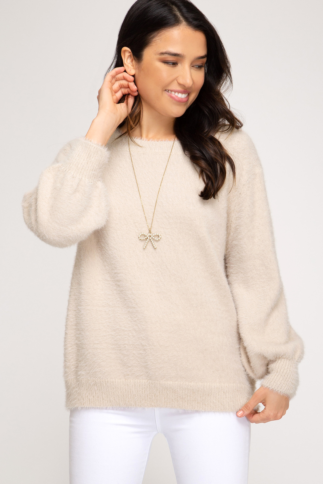 She & Sky  Stone Bubble Sleeve Sweater - Front Cropped Image
