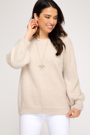 She & Sky  Stone Bubble Sleeve Sweater - Front cropped