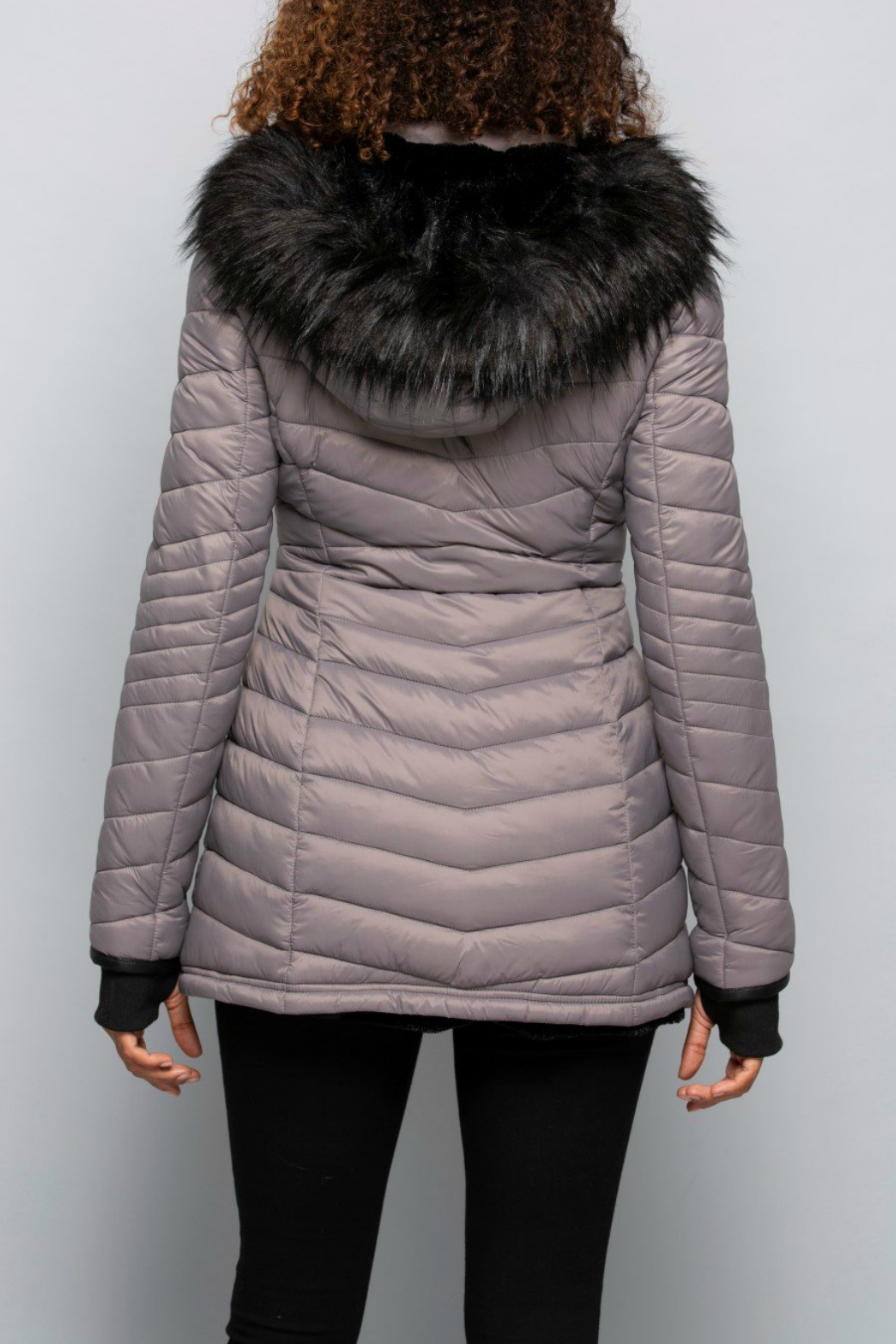 Coalition Stone Cold Fox Hooded Coat - Side Cropped Image