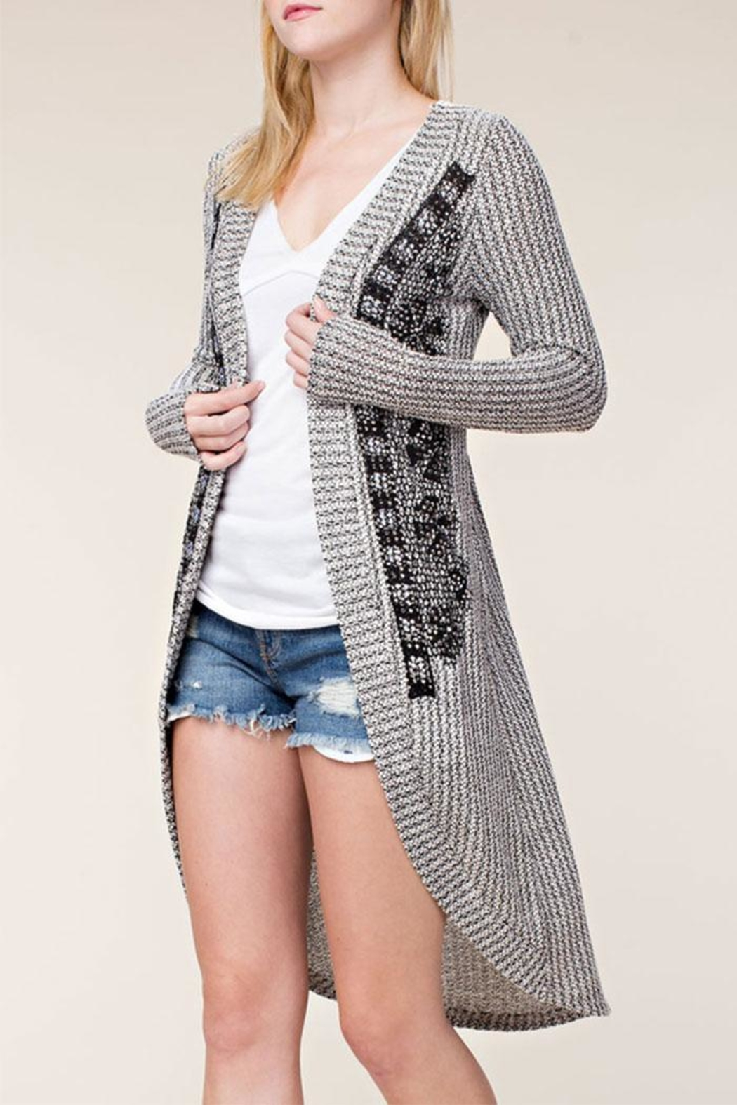 Vocal Apparel Stone Detail Cardigan - Main Image