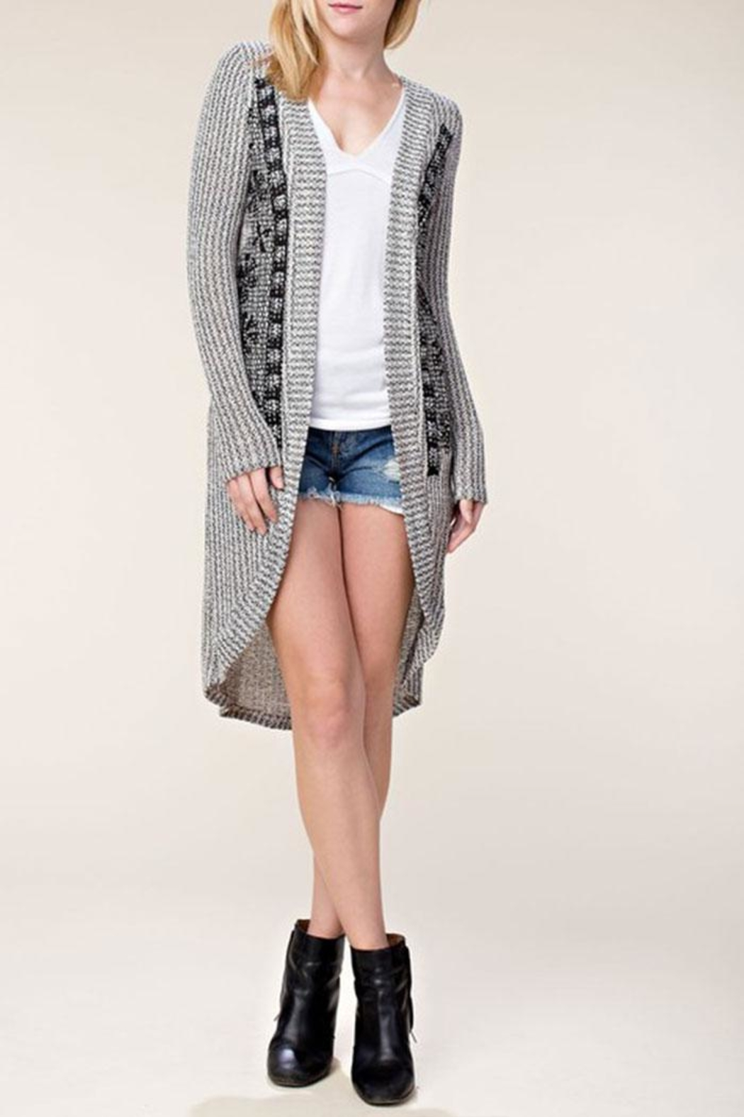Vocal Apparel Stone Detail Cardigan - Side Cropped Image