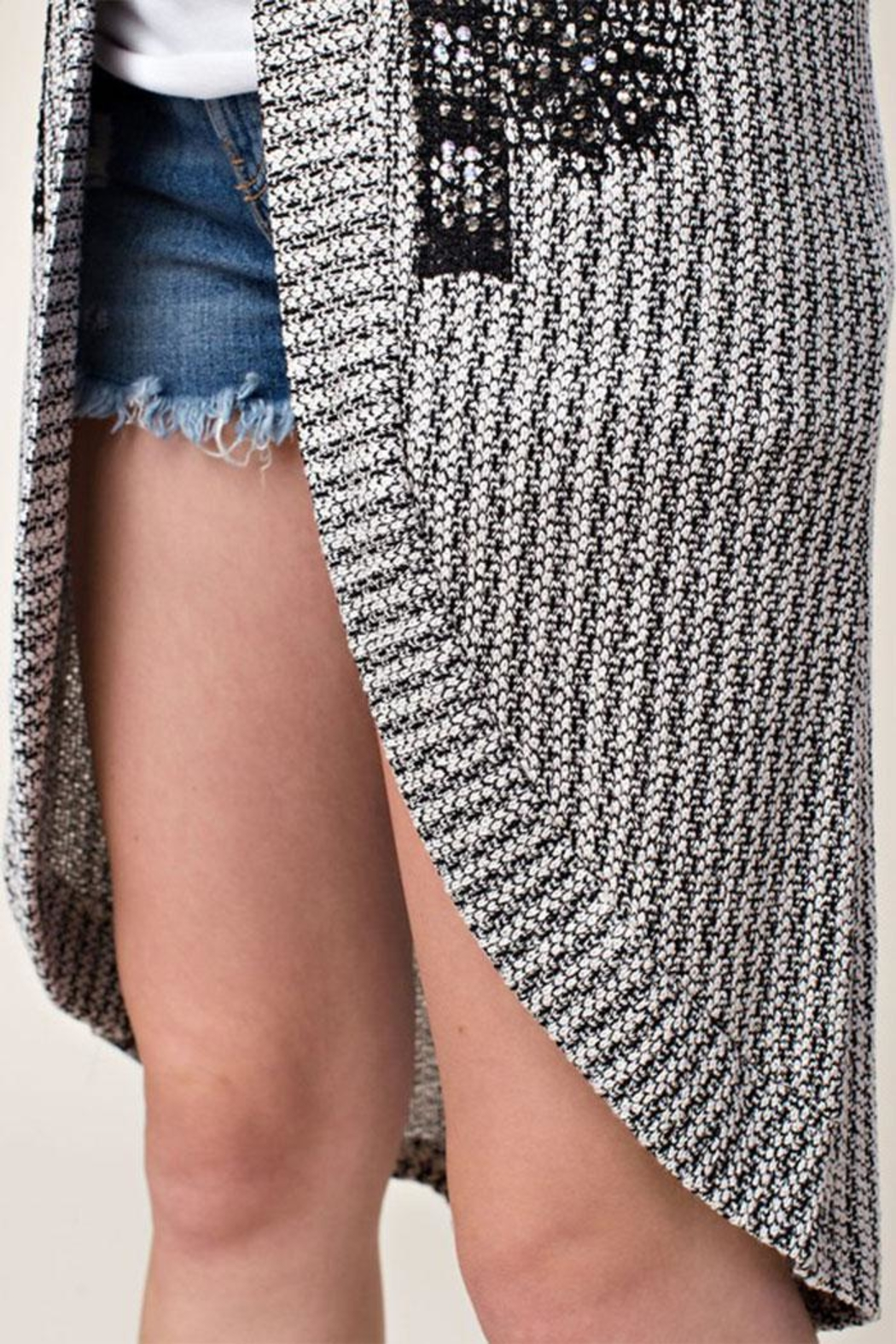 Vocal Apparel Stone Detail Cardigan - Back Cropped Image