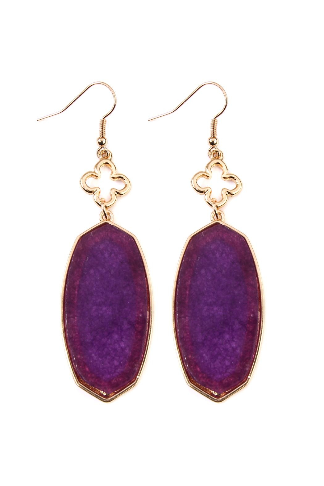 Riah Fashion Stone Drop Earrings - Front Cropped Image