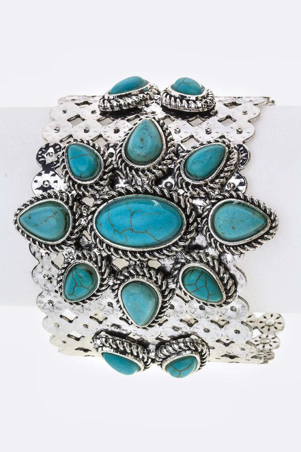 Nadya's Closet Stone Flower Metal-Cuff - Front Cropped Image