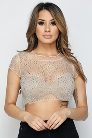 Hot & Delicious Stone Mesh Crop-Top - Product Mini Image