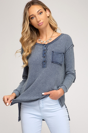 She + Sky Stone Washed Thermal Knit - Product Mini Image