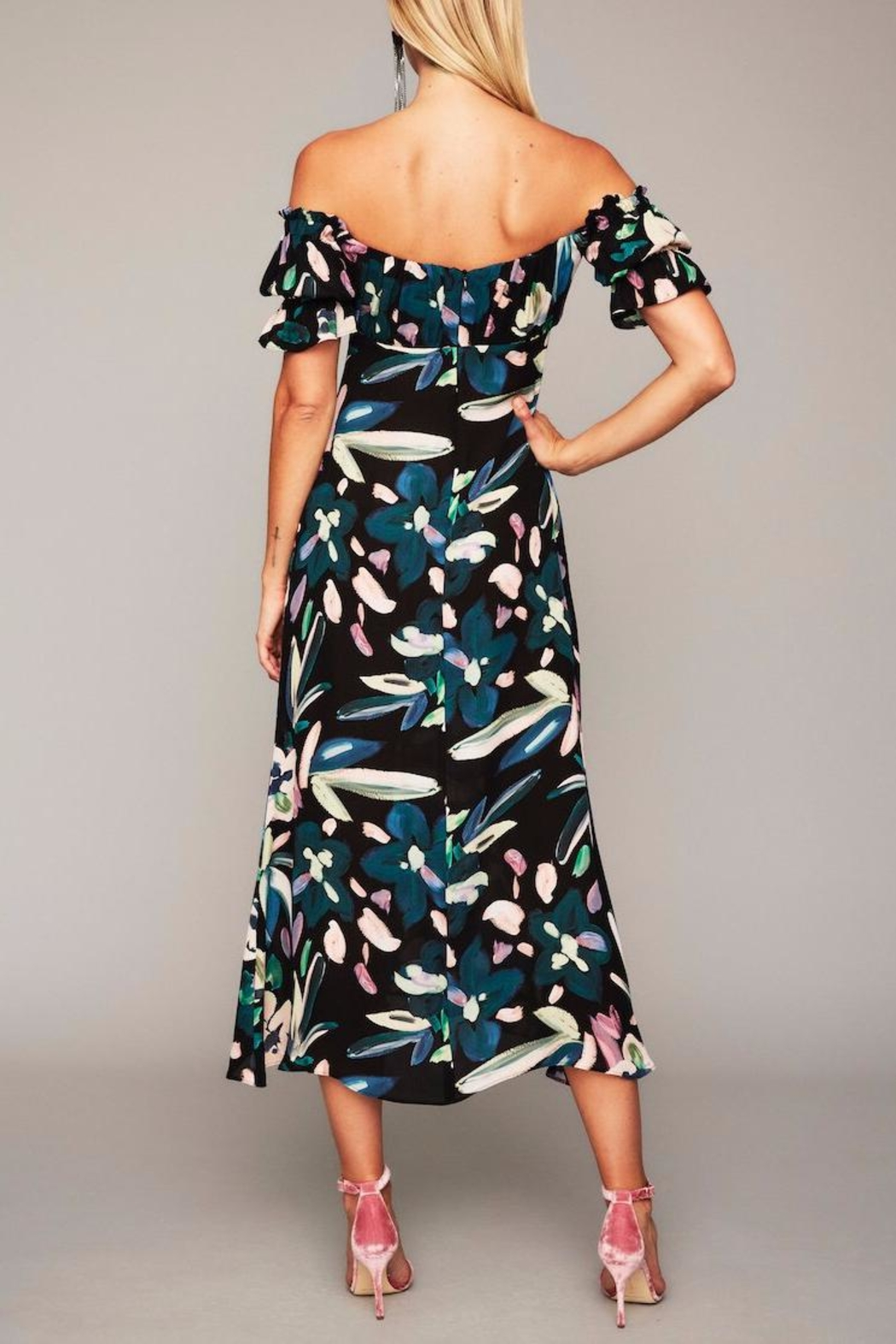 Stone Cold Fox Black Floral Gown - Front Full Image