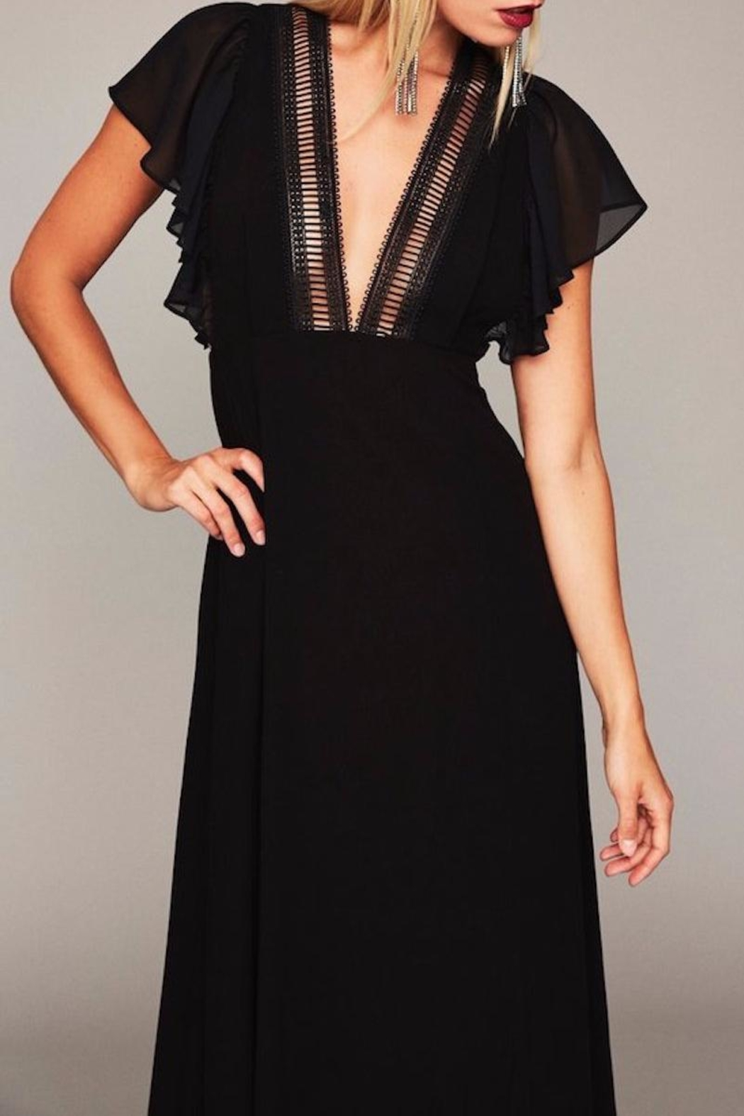 Stone Cold Fox Plunging Black Gown - Back Cropped Image