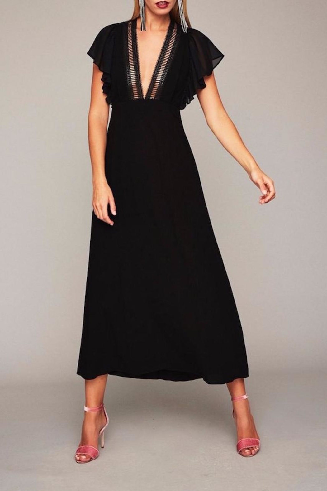 Stone Cold Fox Plunging Black Gown - Main Image