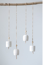 Creative Co-Op Stoneware Bells - Front full body