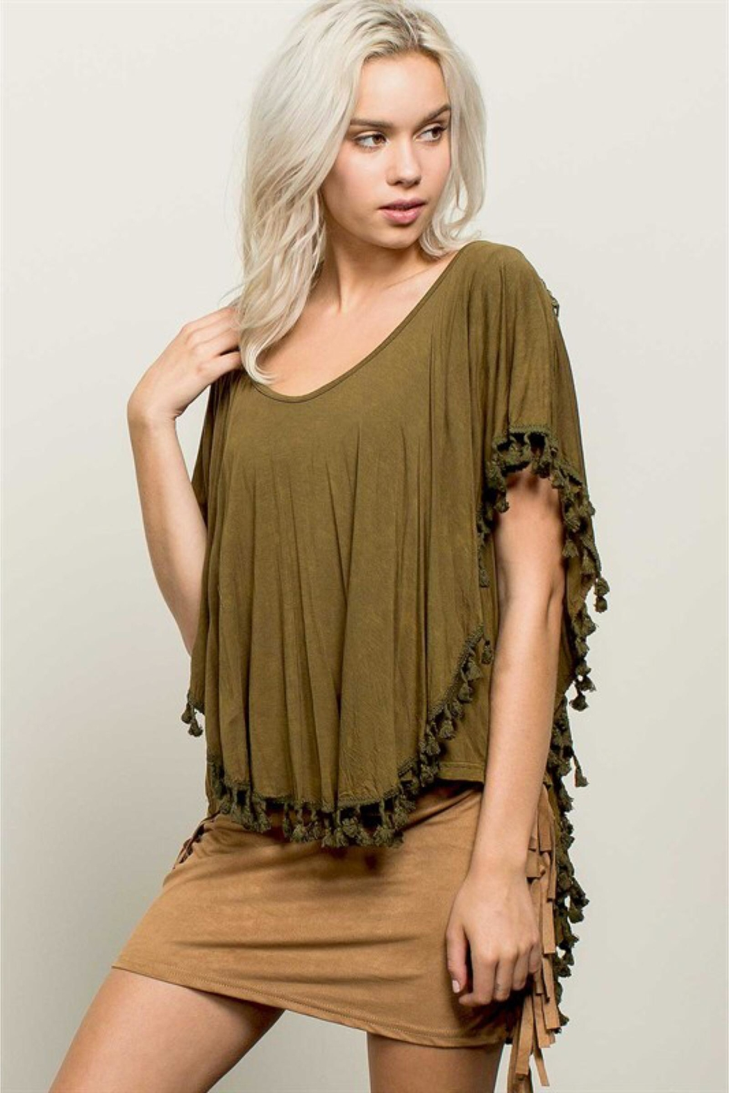People Outfitter Stonewashed Olive Top - Front Full Image