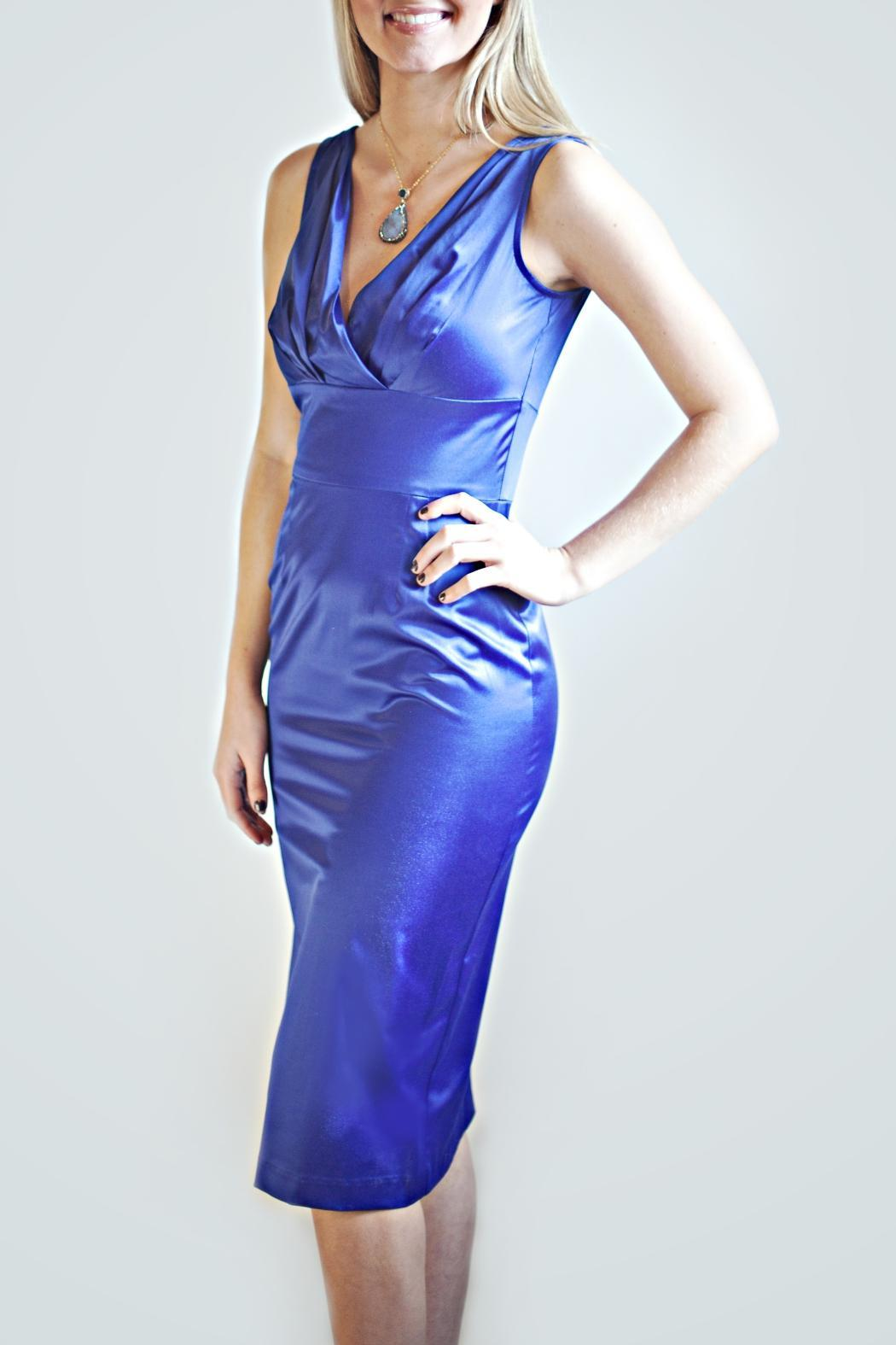 Stop Staring! Blue Fitted Dress - Front Full Image