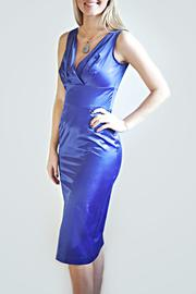 Stop Staring! Blue Fitted Dress - Front full body