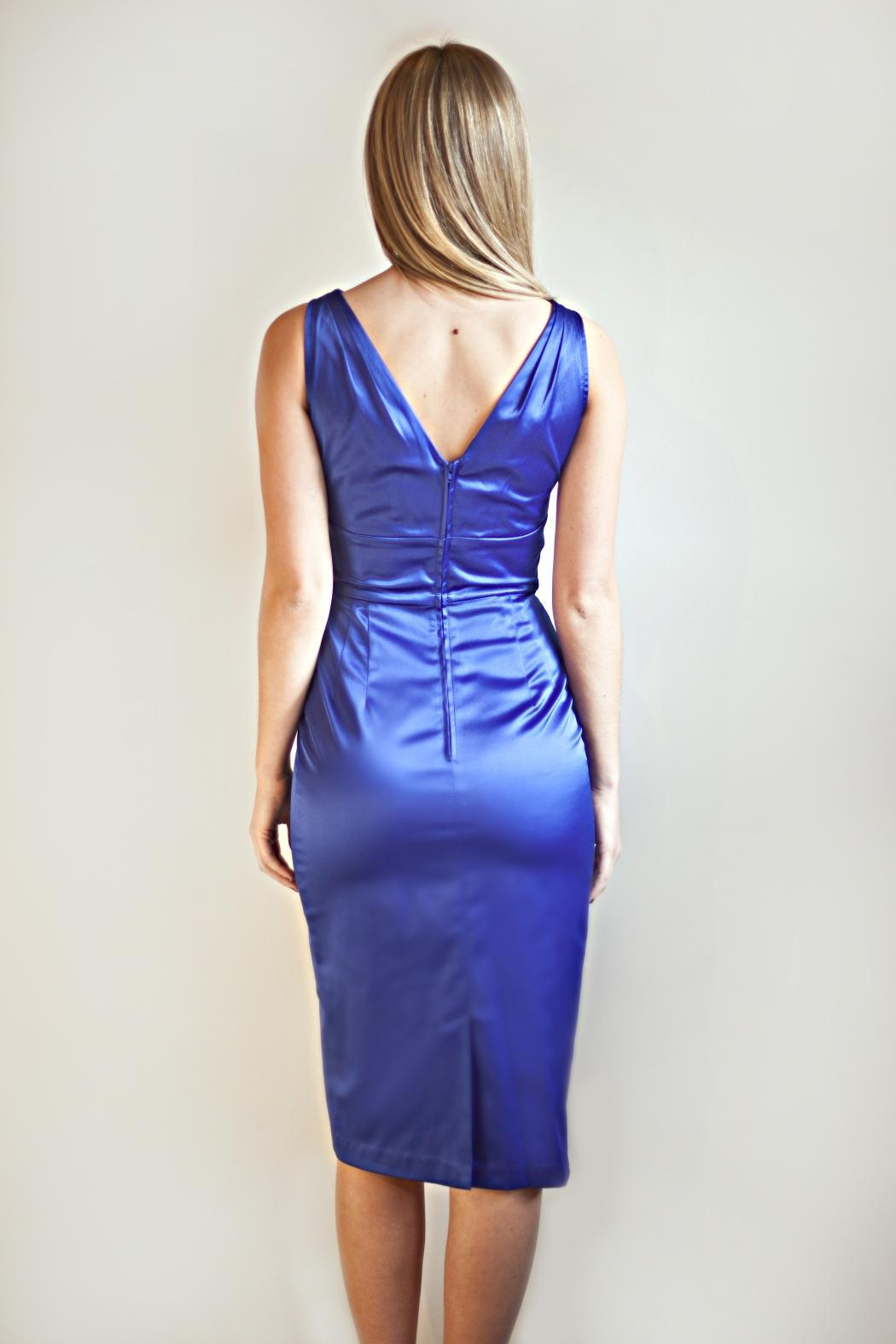 Stop Staring! Blue Fitted Dress - Side Cropped Image